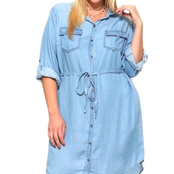 Kayden Reneice Boutique Dresses Plus Size Denim Shirt Dress Poshmark